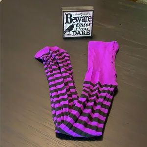 Purple & Black Striped Witches Tights